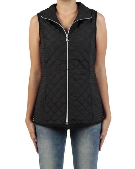 Sport Luxe Puffer Vest black front zip