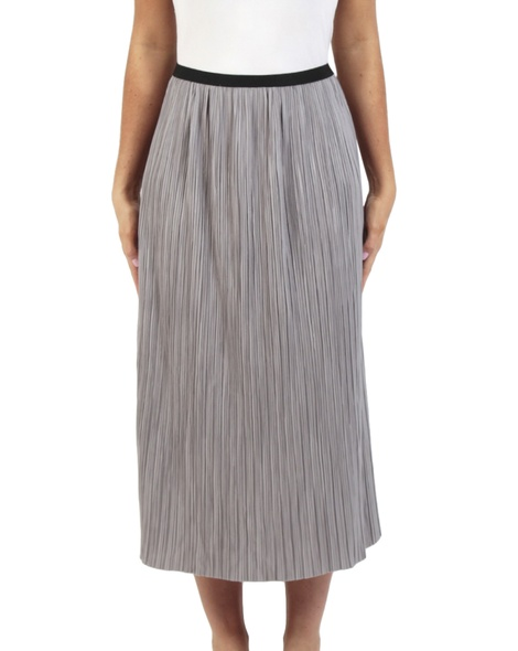 Pleats midi skirt silver front copy