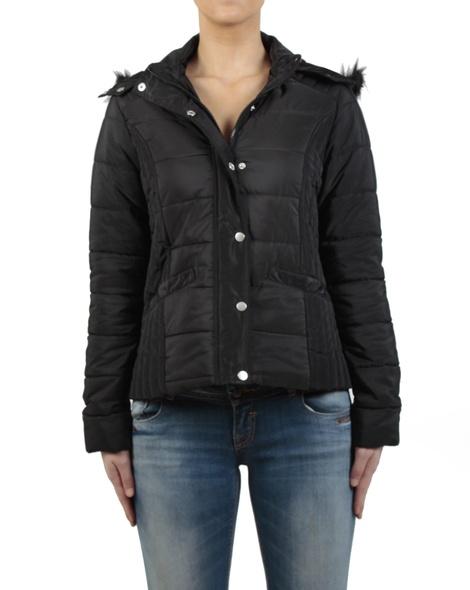 Short puffer jacket black front zipped