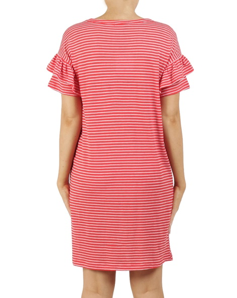 Stripy eliza dress red B
