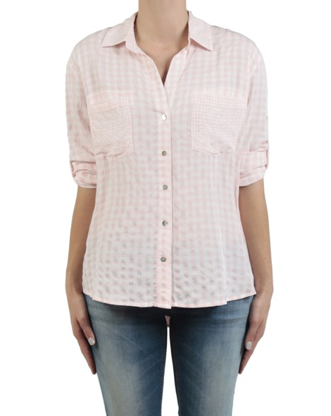Gingham multi shirt pale pink front sleeves copy