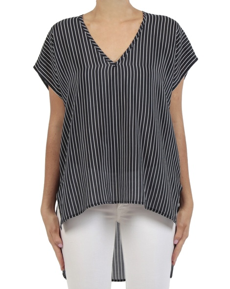 Stripey Cat top navy white front