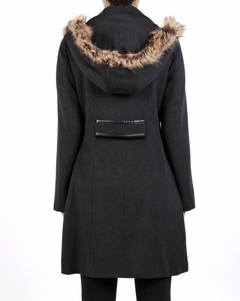 Fur trim duffel coat charcoal back copy