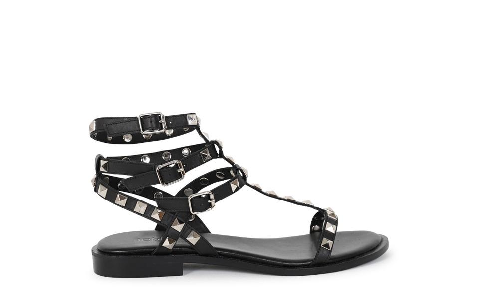 4a6306d1d6b1 BAY - Flat Gladiator Sandal. BAY blk (1)  BAY blk (2)