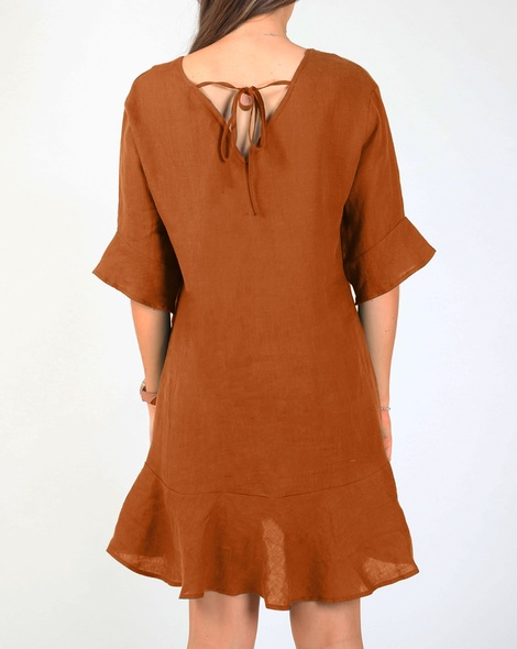 Jessie linen dress tobacco B