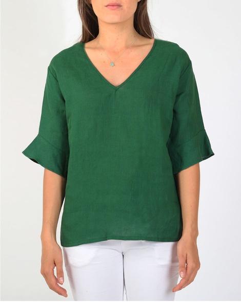 Jessie linen top green A