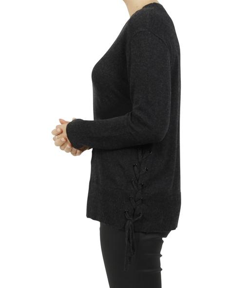 harper side tie knit charcoal C