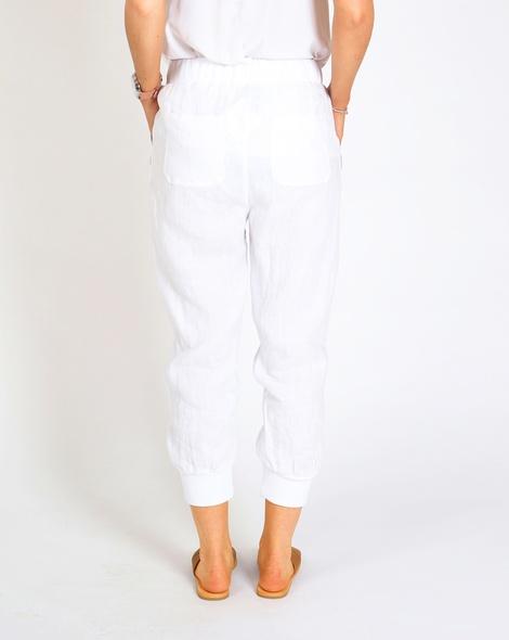 Thea linen jobber pant white B
