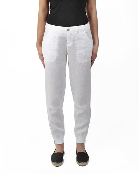 Cooper linen pant white front
