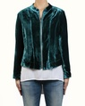 Silk Velvet Bomber teal front zipped white