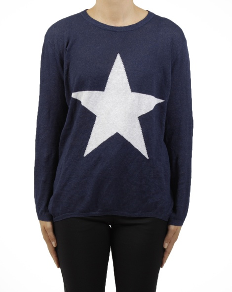 crew neck knit navy A