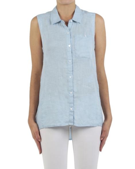 Linen sleeveless shirt blue front