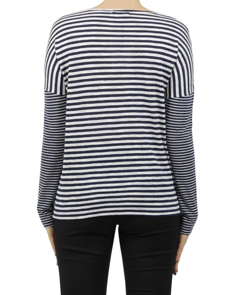 stripey lennon top navy B