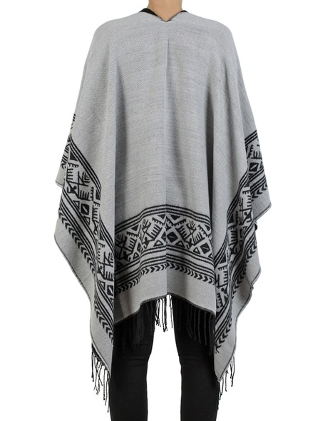Aztec poncho black grey copy