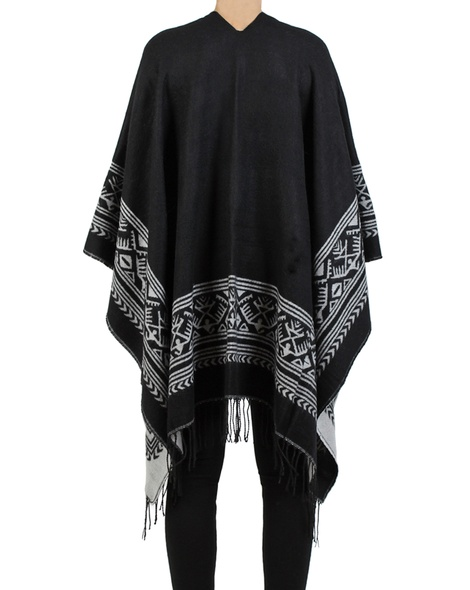 Aztec poncho back black copy