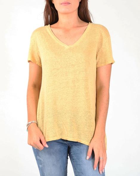 linen v neck tee  mustard A