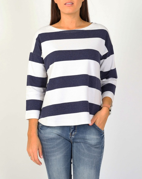 Stripe pullover navy A