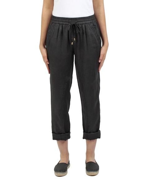 Elliot linen pant black front rolled copy