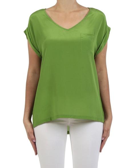 Leonie Silk top moss front