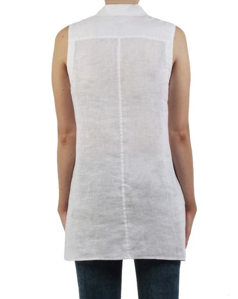 Linen sleeveless shirt white back