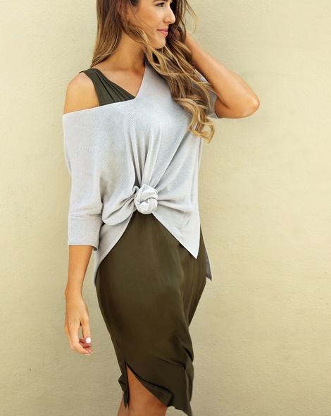 Kendal dress khaki + sophie v knit (23)