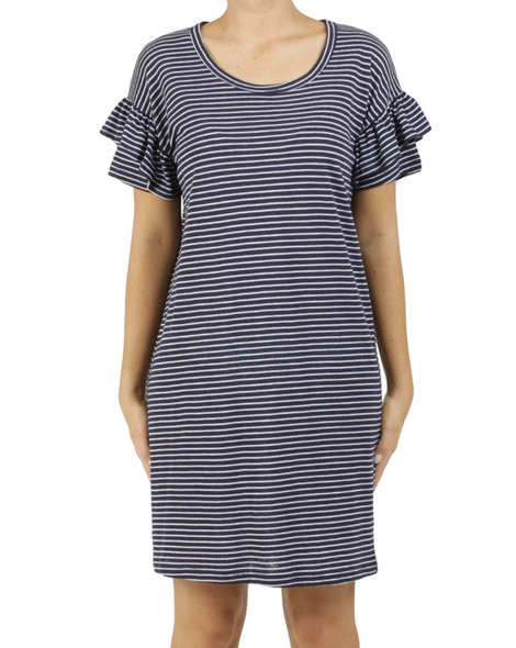 stripy eliza dress navy A