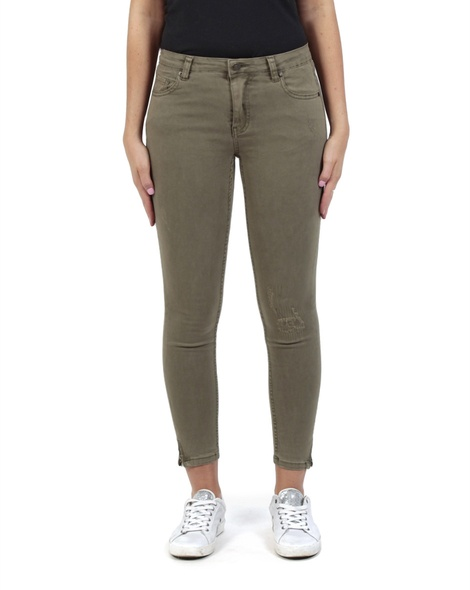 high waist skinny zip jean olive front