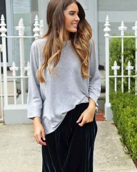 Star charm sweater + velvet midi skirt charcoal (20)