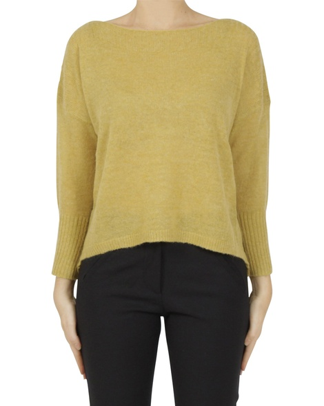 Boat neck crop mustard A