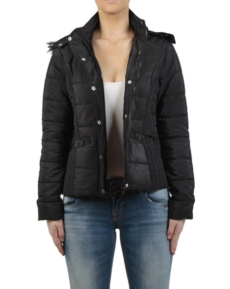 Short puffer jacket black front