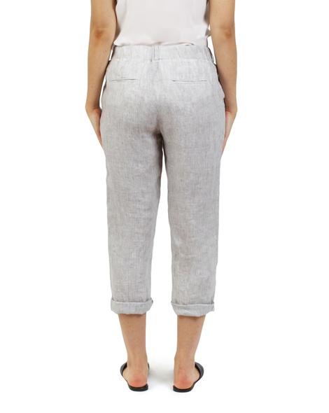 Essential stripe linen pant sage B