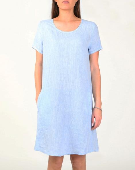 Linen cap sleeve dress blue A