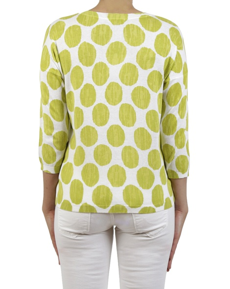 Spotty knit chartreuse back