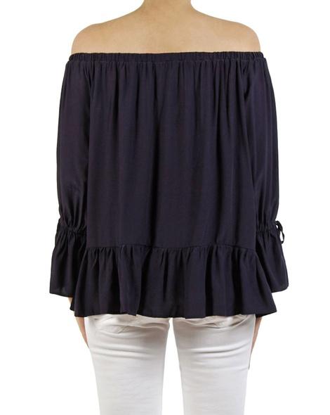 Anna button sleeve blouse navy B copy
