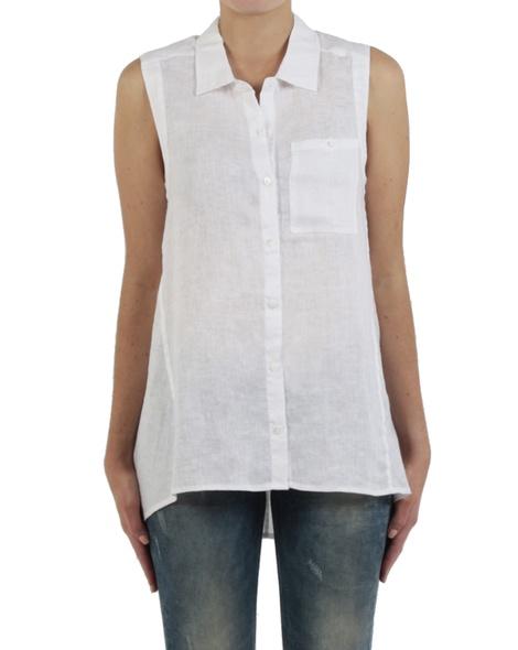 Linen sleeveless shirt white front