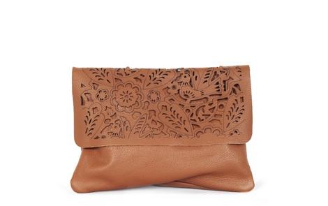 flower handbag tan A