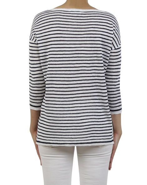 Simple stripe pullover navy back copy