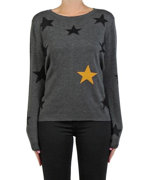 Stellar Jumper charcoal mustard front