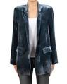 Silk velvet blazer blue front open copy