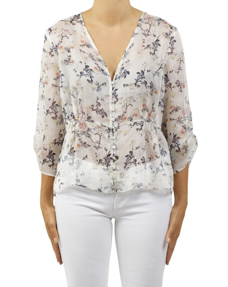 floral cathernine top white A