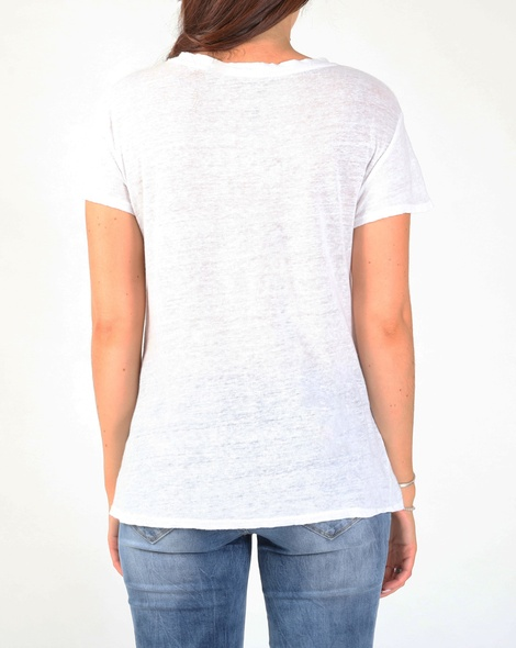 linen v neck tee white B