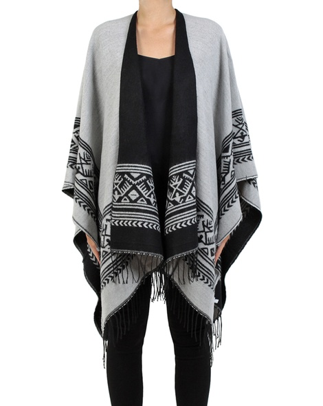 Aztec poncho front grey copy