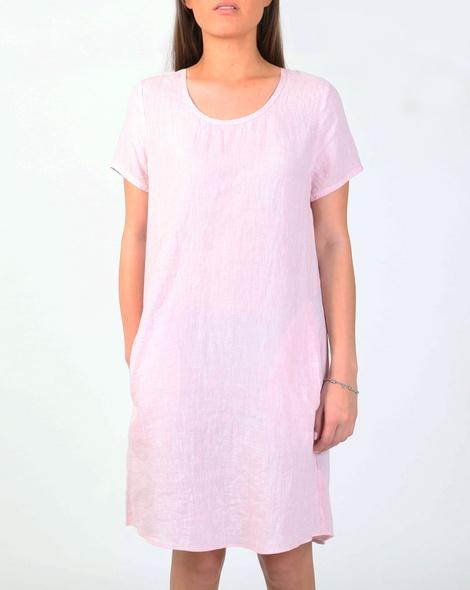 Linen cap sleeve dress pink A