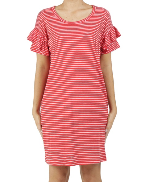 Stripy eliza dress red A