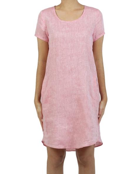 Linen cap sleeves shift dress watermelon A