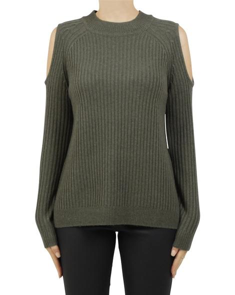 cold shoulder pullover khaki A