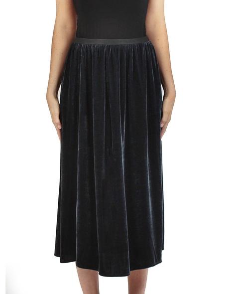 Velvet midi skirt charcoal front