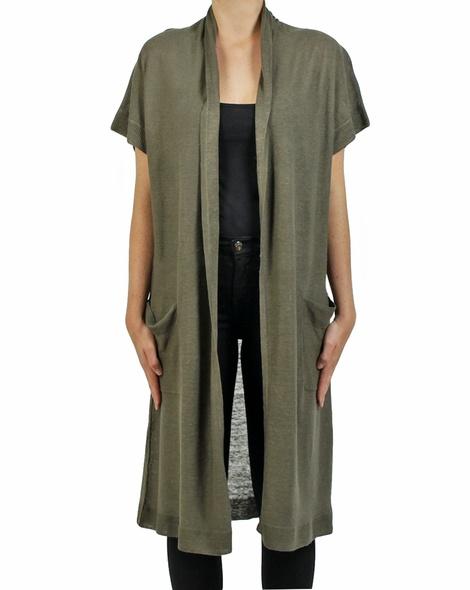 Longline linen cardigan sage copy
