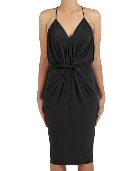 Hayden dress black front twist copy