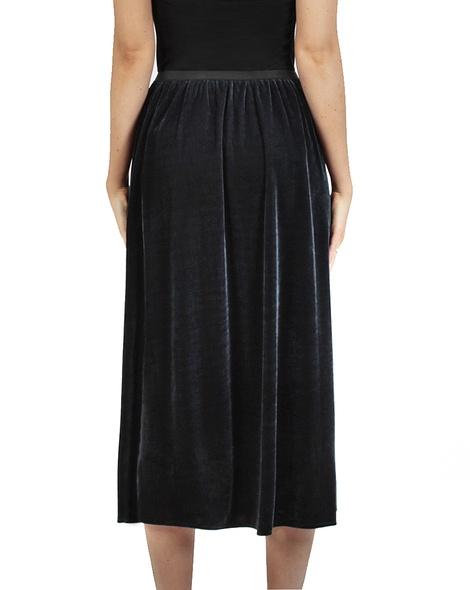 Velvet midi skirt charcoal back